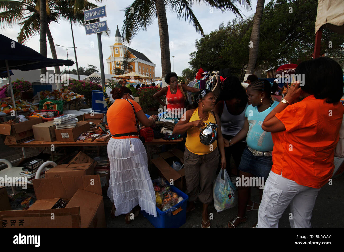Curacao, Willemstad, queen's day, preparations for the the traditional free market on the Wilhelminaplein. - Stock Image