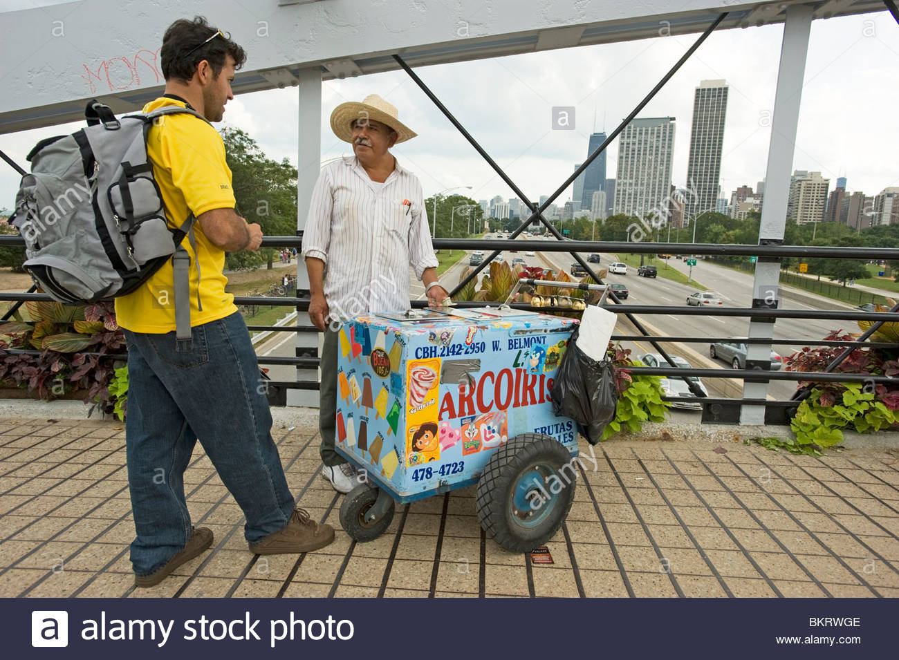 Mexican emigrant selling ice creams close to Lincoln Park. Chicago,Illinois,Usa - Stock Image