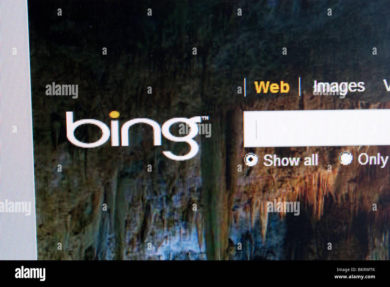 Microsoft bing search engine computer screen SEO - Stock Image
