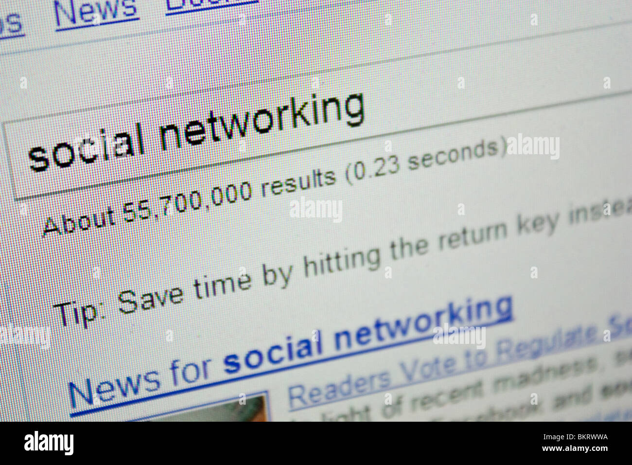 social networking search term phase screen letters - Stock Image