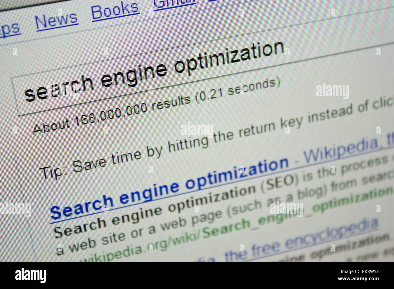 search engine optimization word phase screen SEO - Stock Image