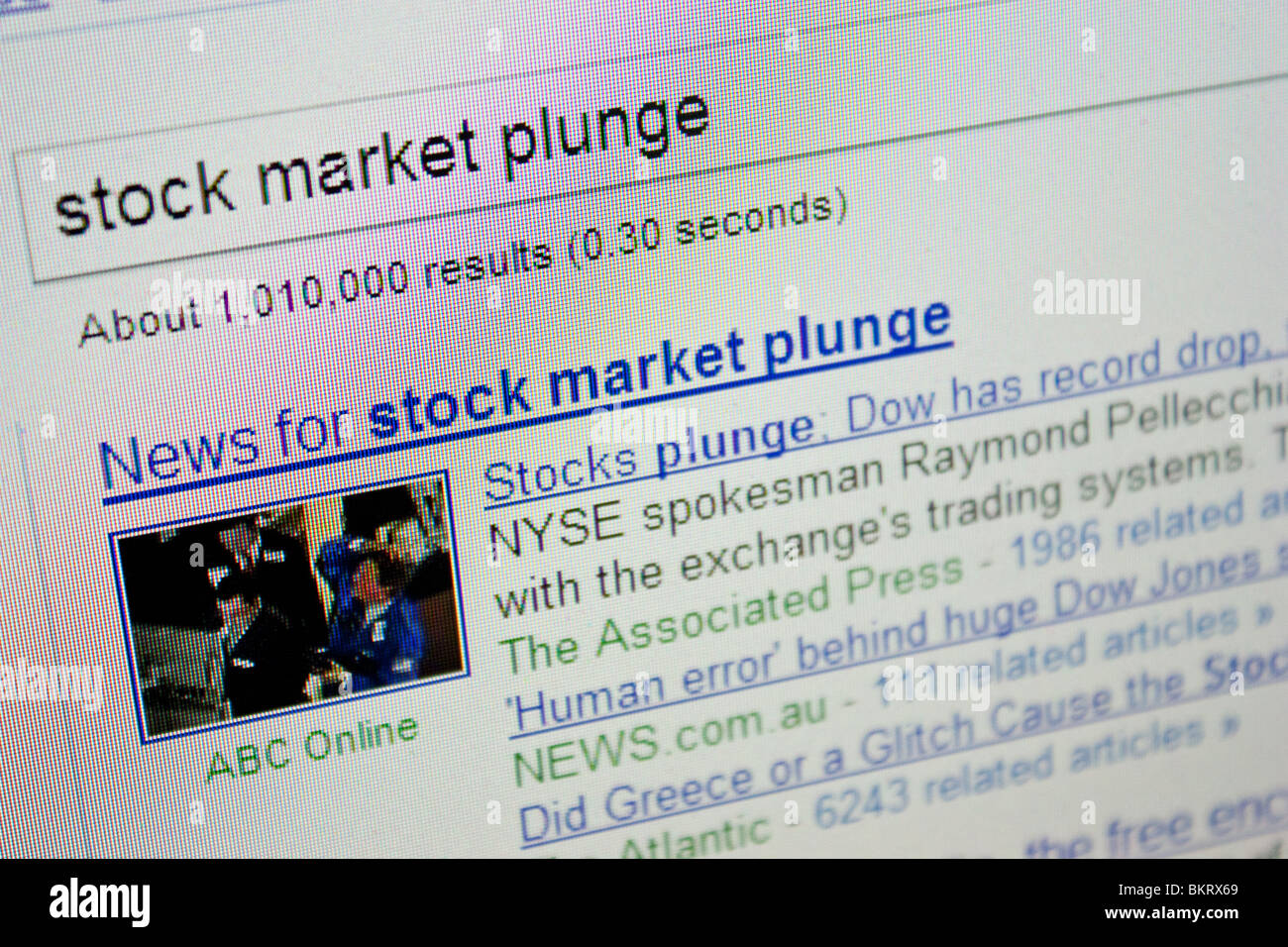 stock market plunge crash Dow record drop - Stock Image