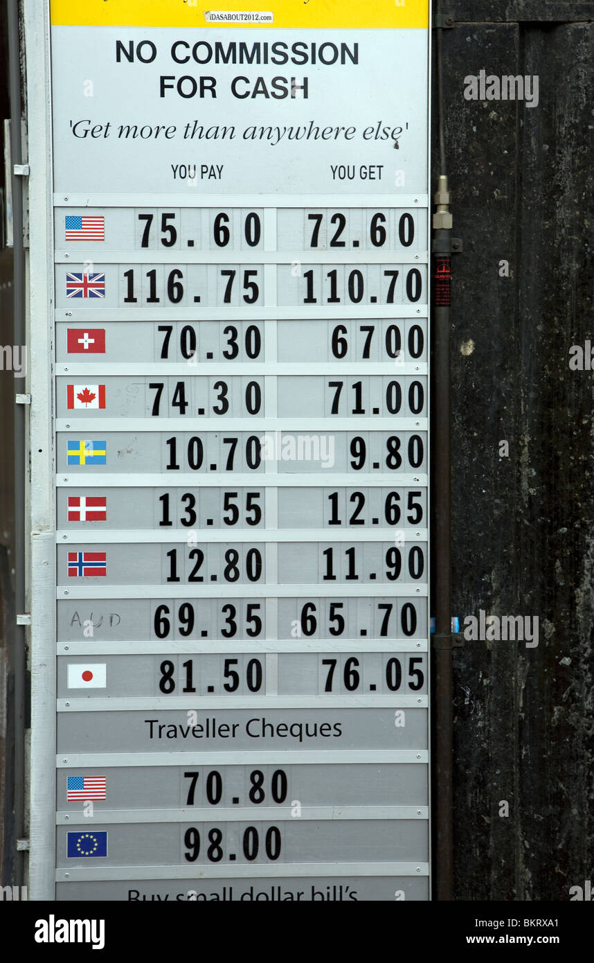 Exchange rates for currencies, Amsterdam, Netherlands - Stock Image