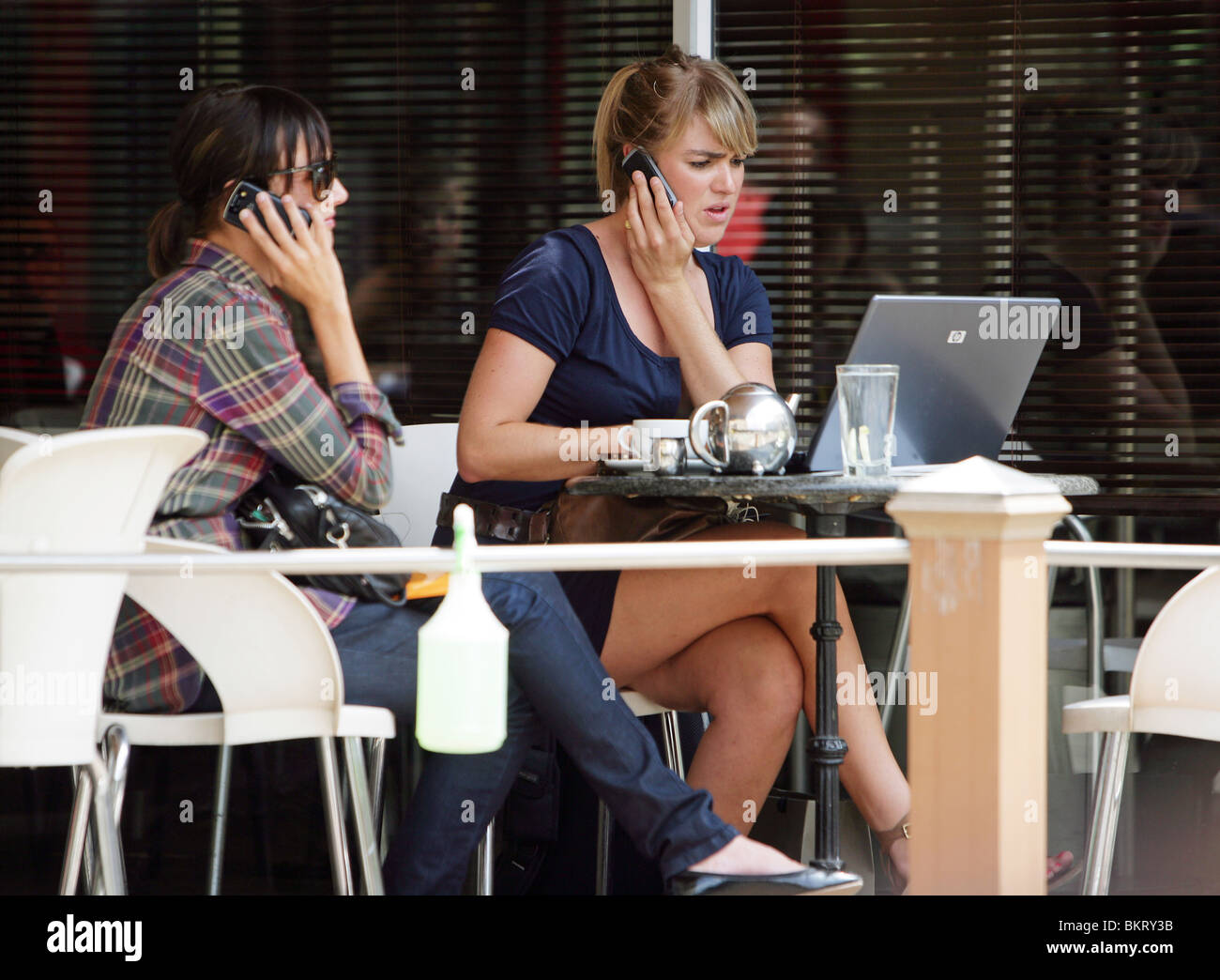 young white South Africans in a Cafe in Sandton City, Sandton, Johannesburg, South Africa - Stock Image