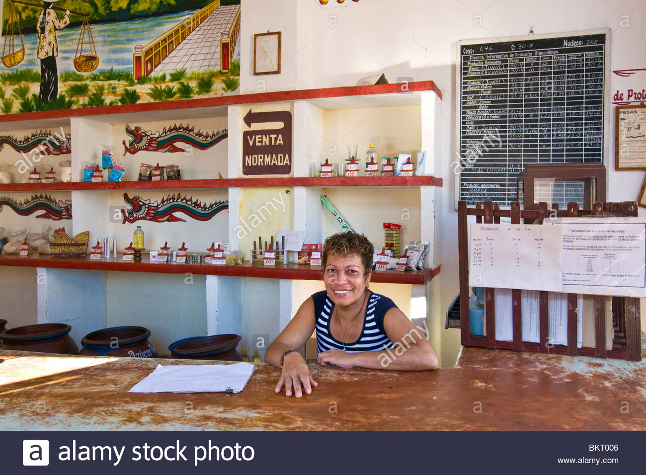 cuba,remedios,girl in the shop - Stock Image