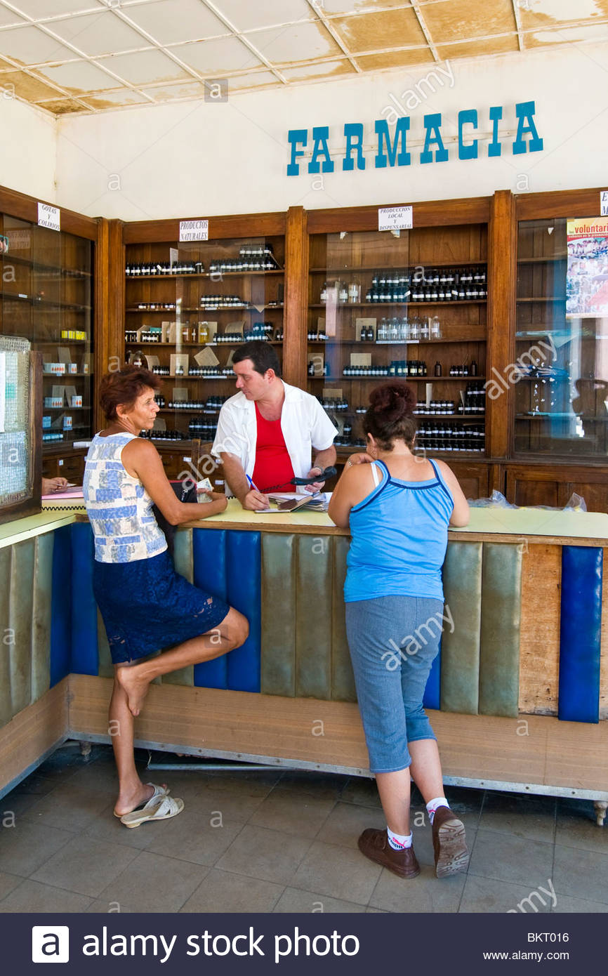 cuba,remedios,daily life in the pharmacy - Stock Image