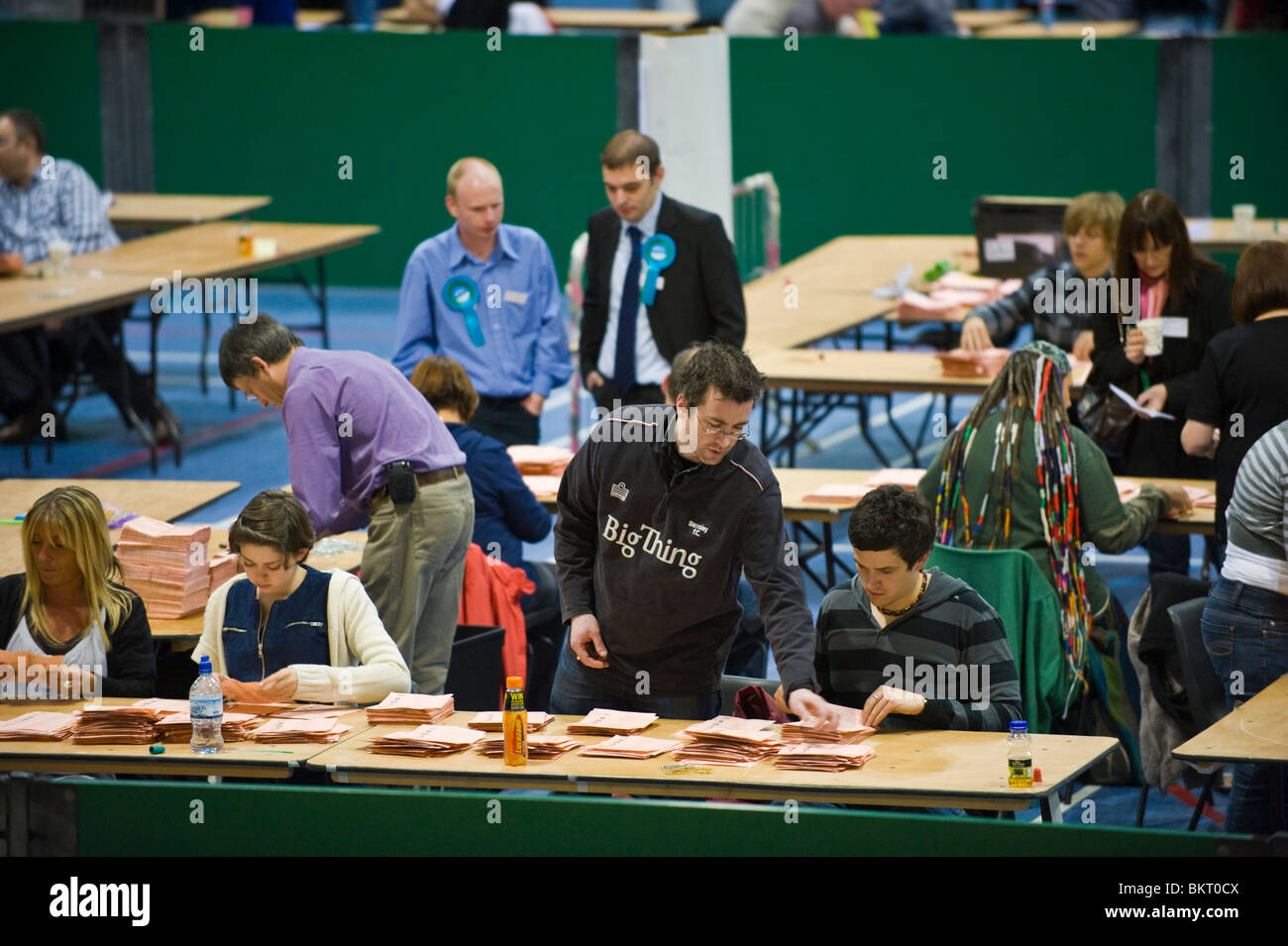 General Election 2010 count for Newport East and West at sports centre in Newport South Wales UK - Stock Image