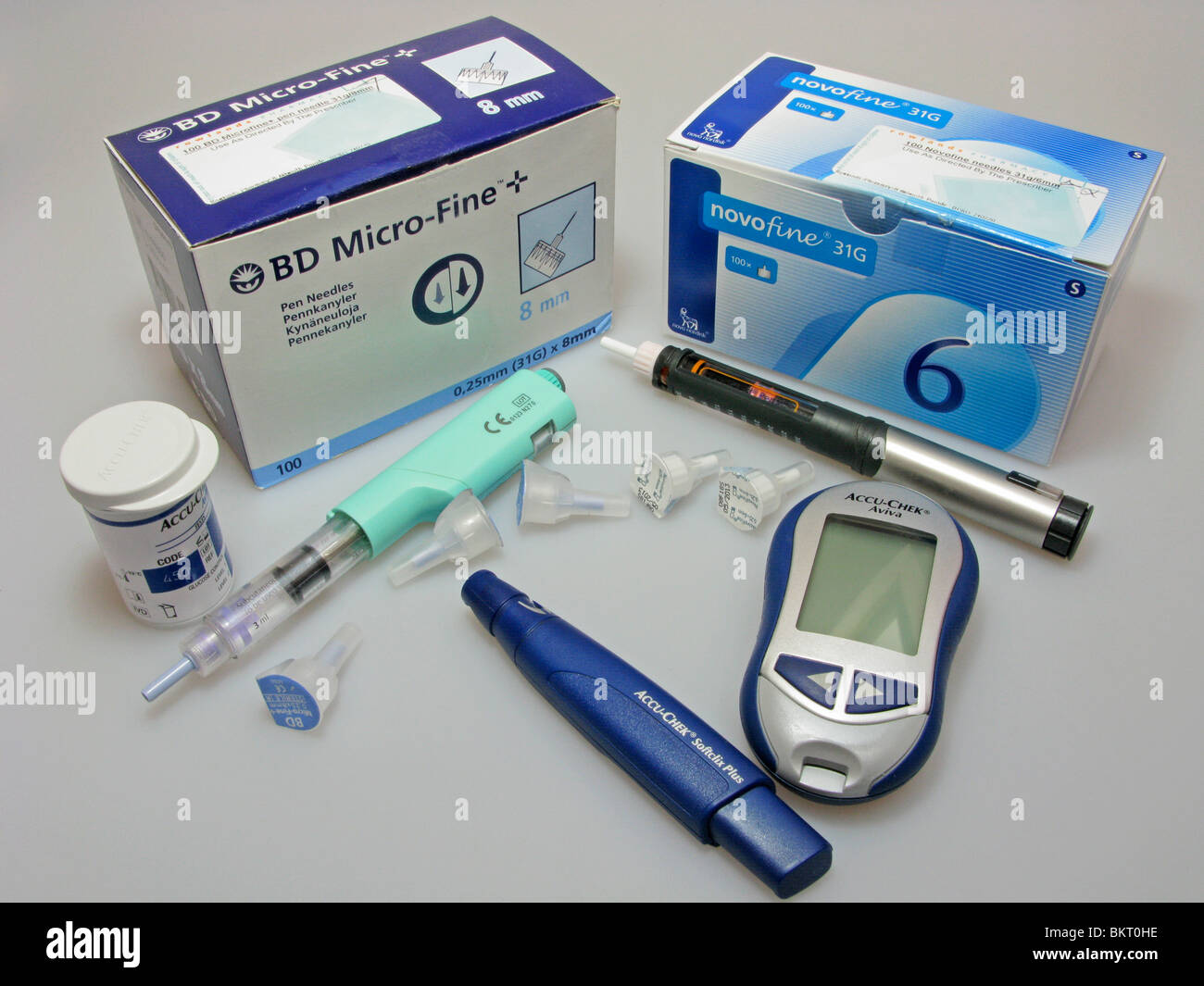 blood sugars (glucose) monitor & injection items needed for a someone suffering from diabetes - Stock Image