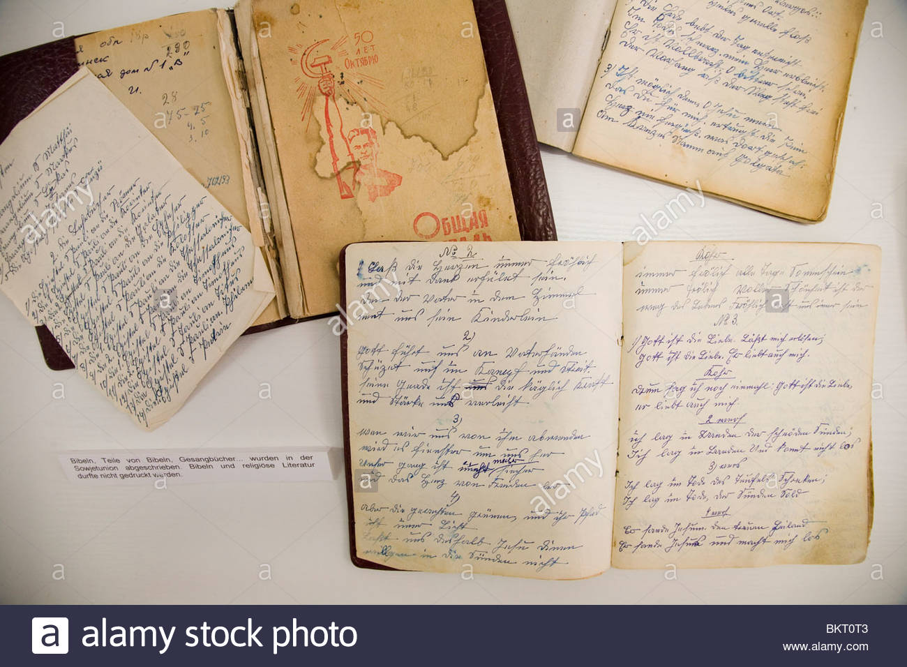 writings and religious books banned by the government of the East German,the Stasi Museum,Berlin,Germany - Stock Image