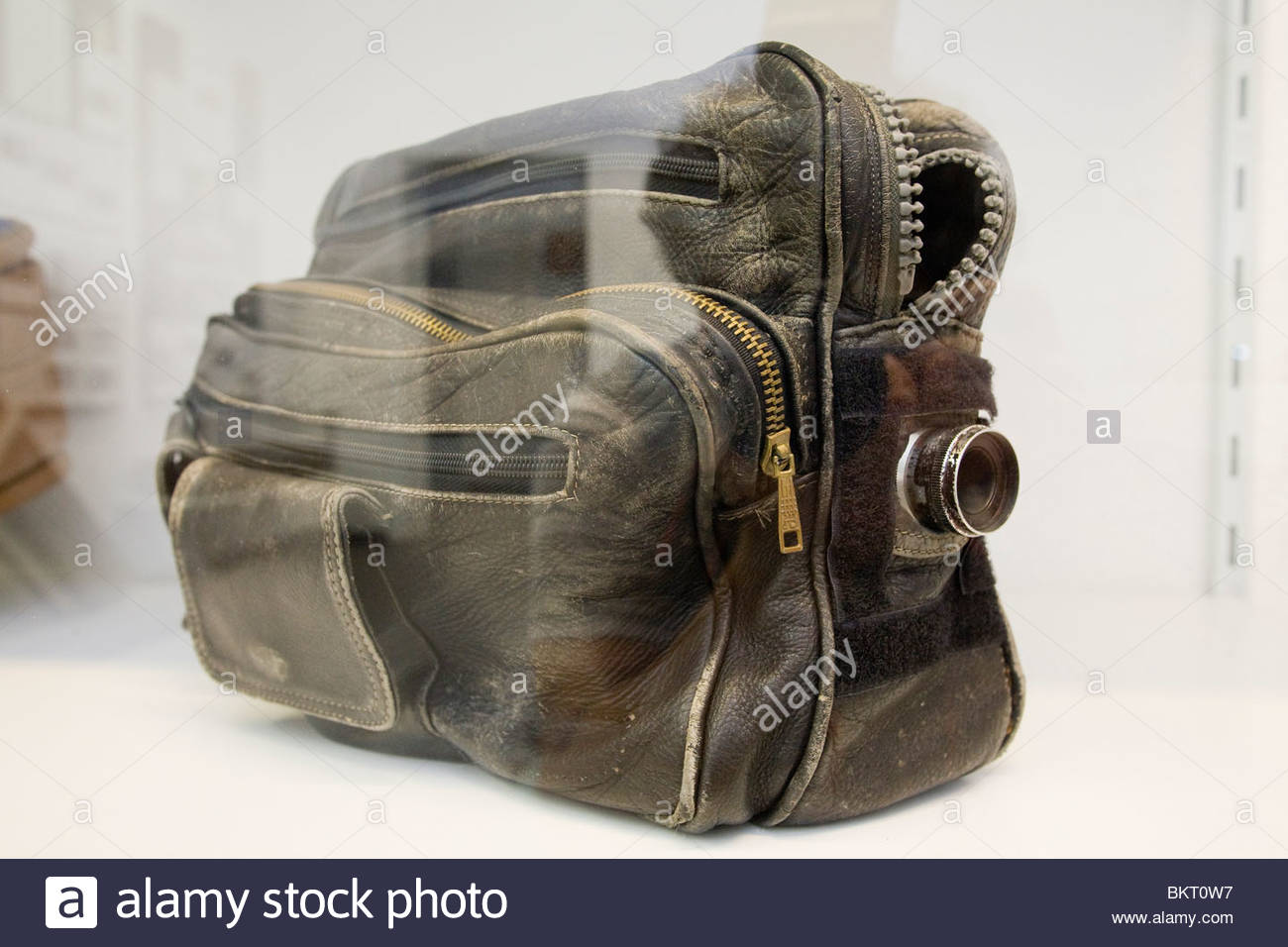 bag with hidden camera used by spies of the GDR,the Stasi secret center in the time of the GDR,the Stasi Museum,Berlin,Germany - Stock Image