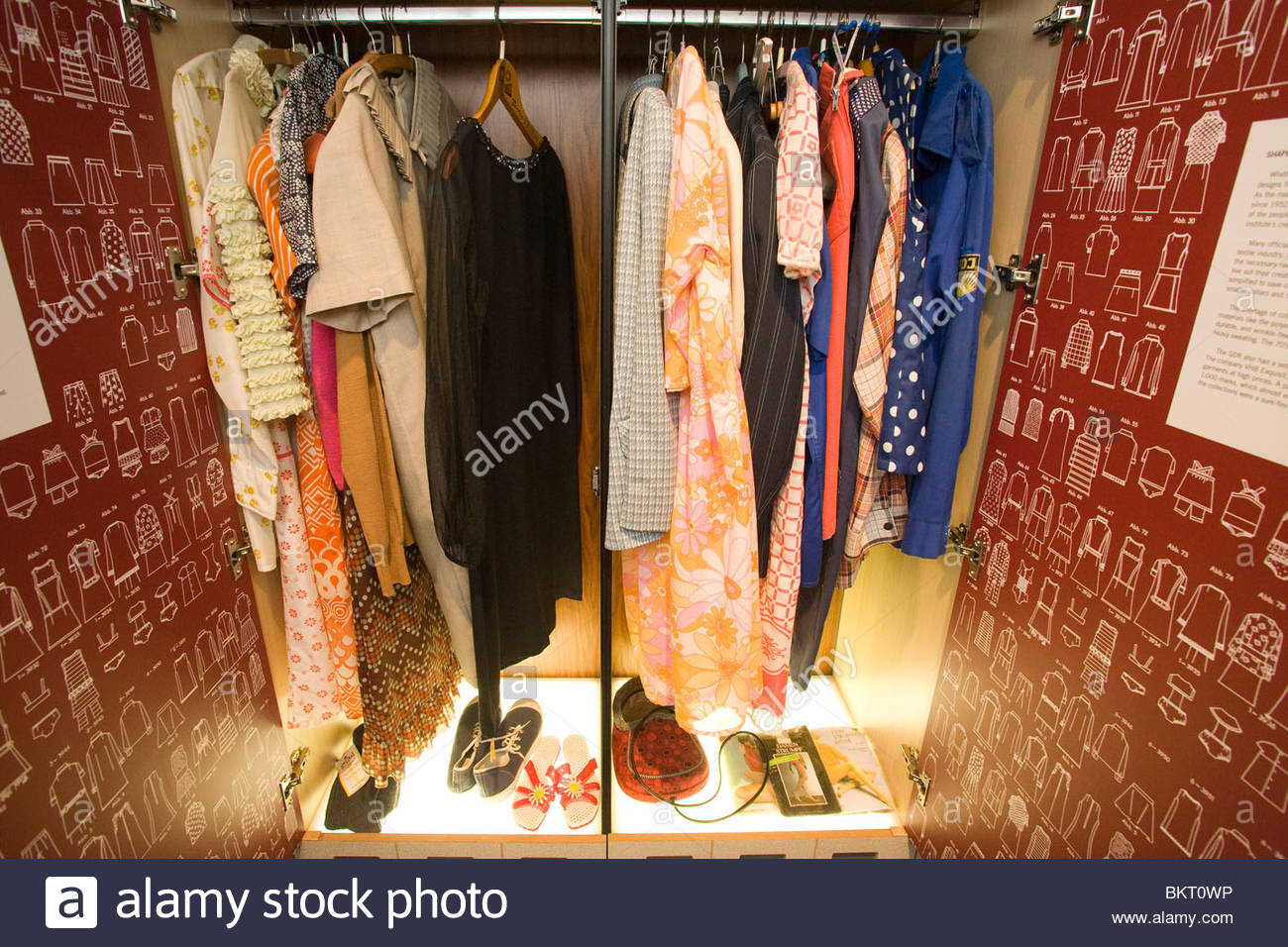Museum of the GDR,the clothes of a family,Berlin,Germany - Stock Image