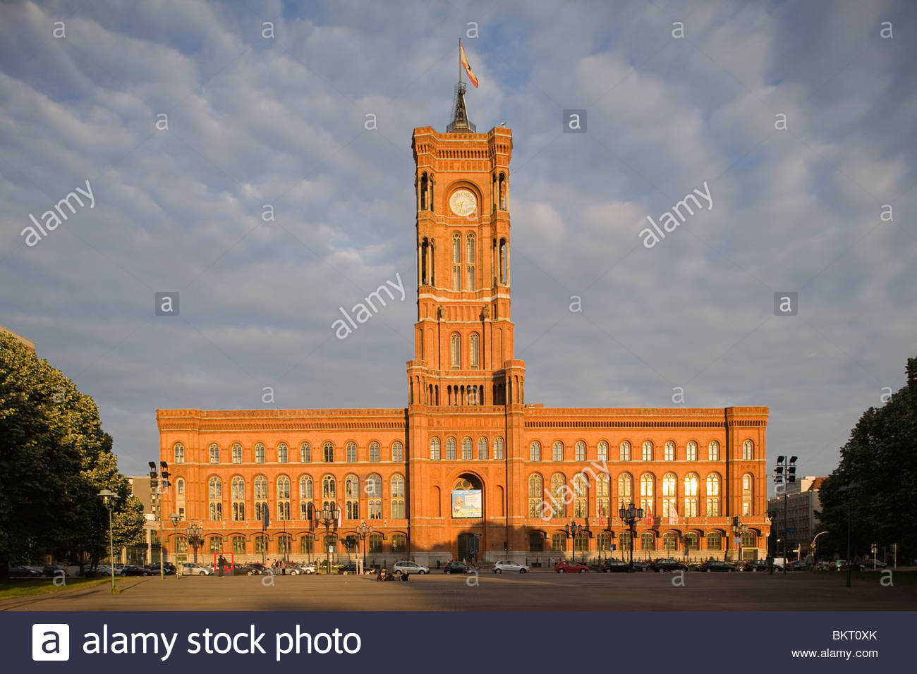Red townhall,Rotes Rathaus,Alexanderplatz,Berlin,Germany - Stock Image