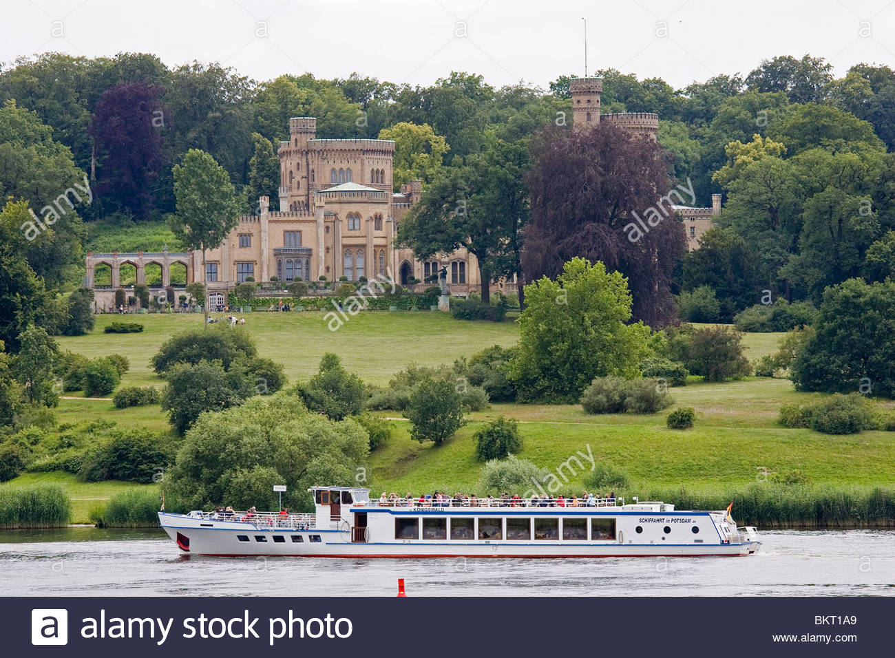 Babelsberg Castle,Lake Tiefer,Potsdam,Brandenburg,Germany - Stock Image