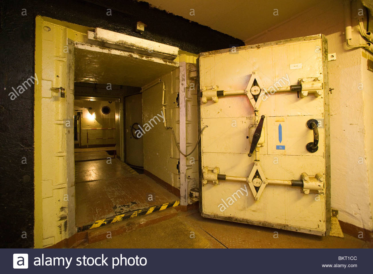 reinforced door of the bunker anti-atomic harnekop,Prötzel,Brandenburg,Germany - Stock Image