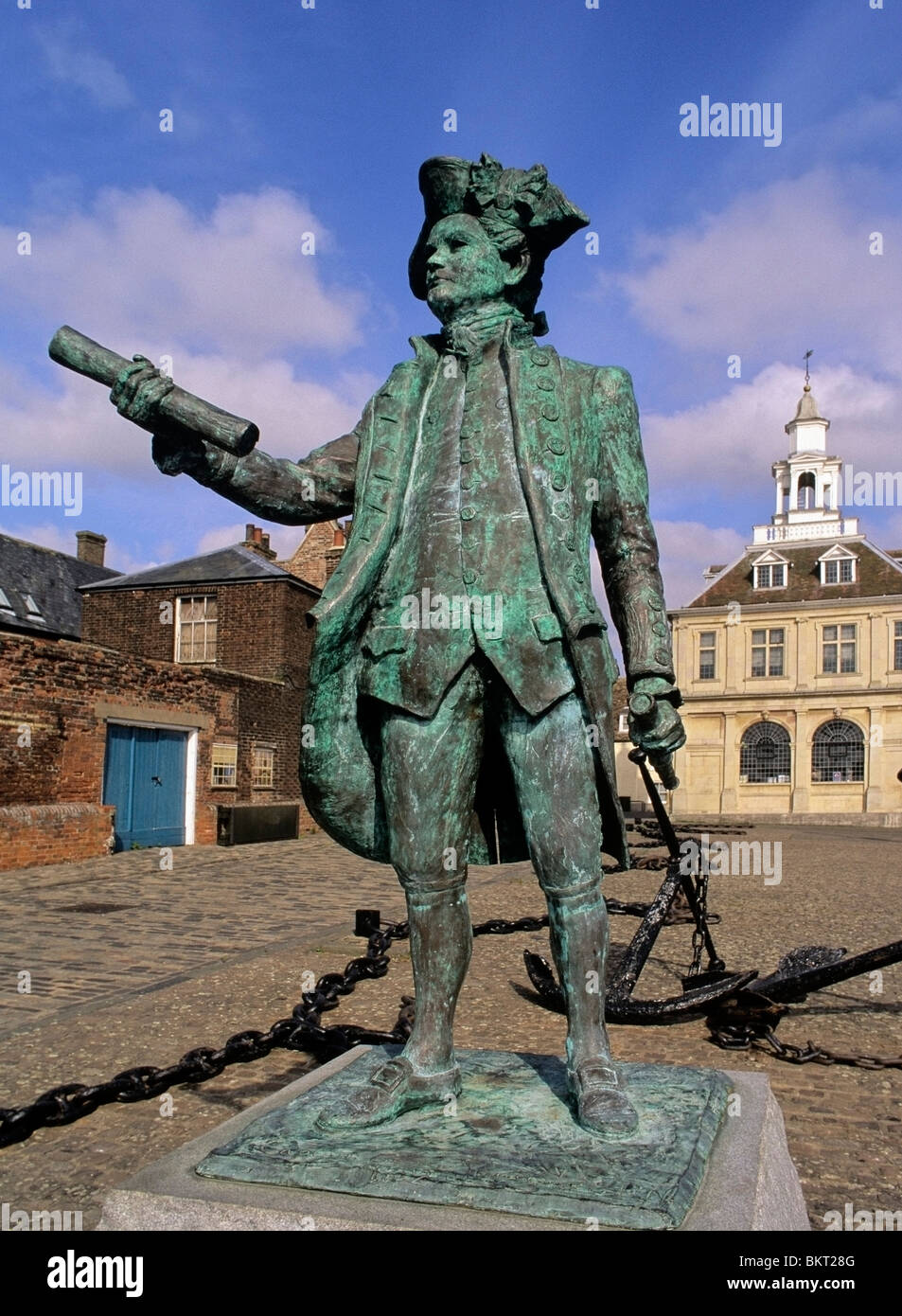 Statue of Captain George Vancouver at kings Lynn - Stock Image