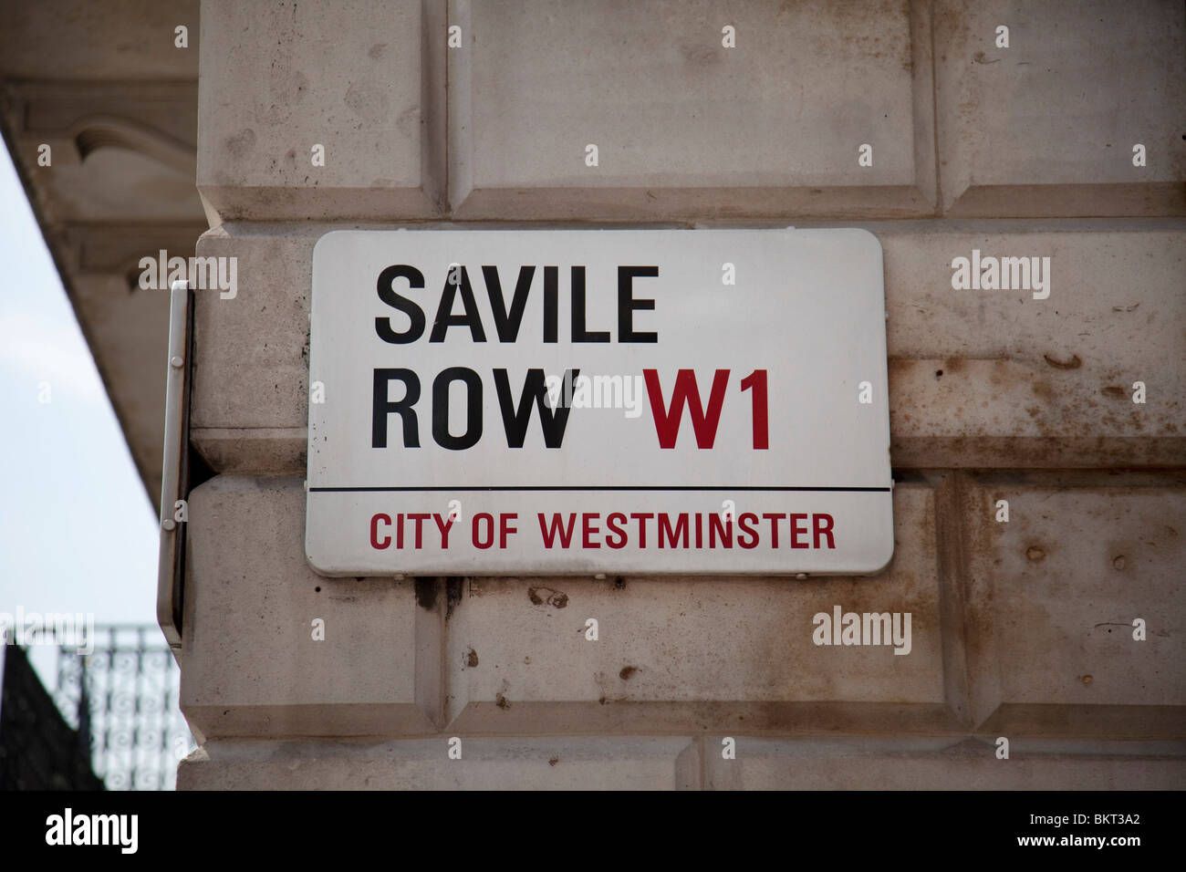 Street sign for the famous Saville Row. This street is best known for it's tailors. Tailoring and suit making. - Stock Image