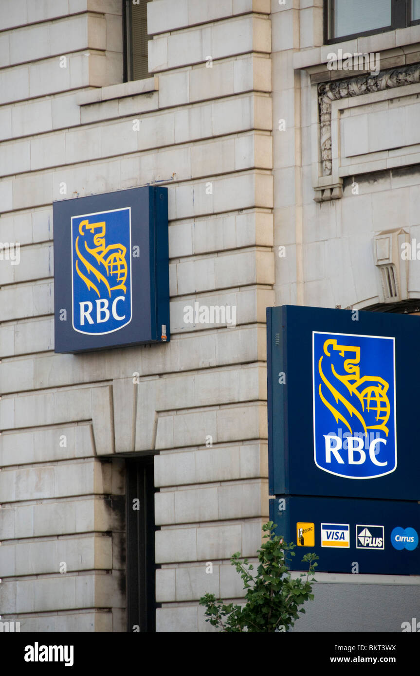 Royal Bank of Canada logos on a branch located in Montreal - Stock Image