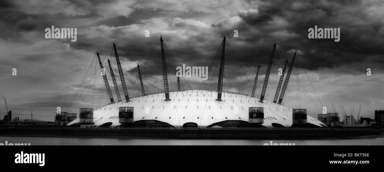 Black and White Image of the O2 Dome London England - Stock Image