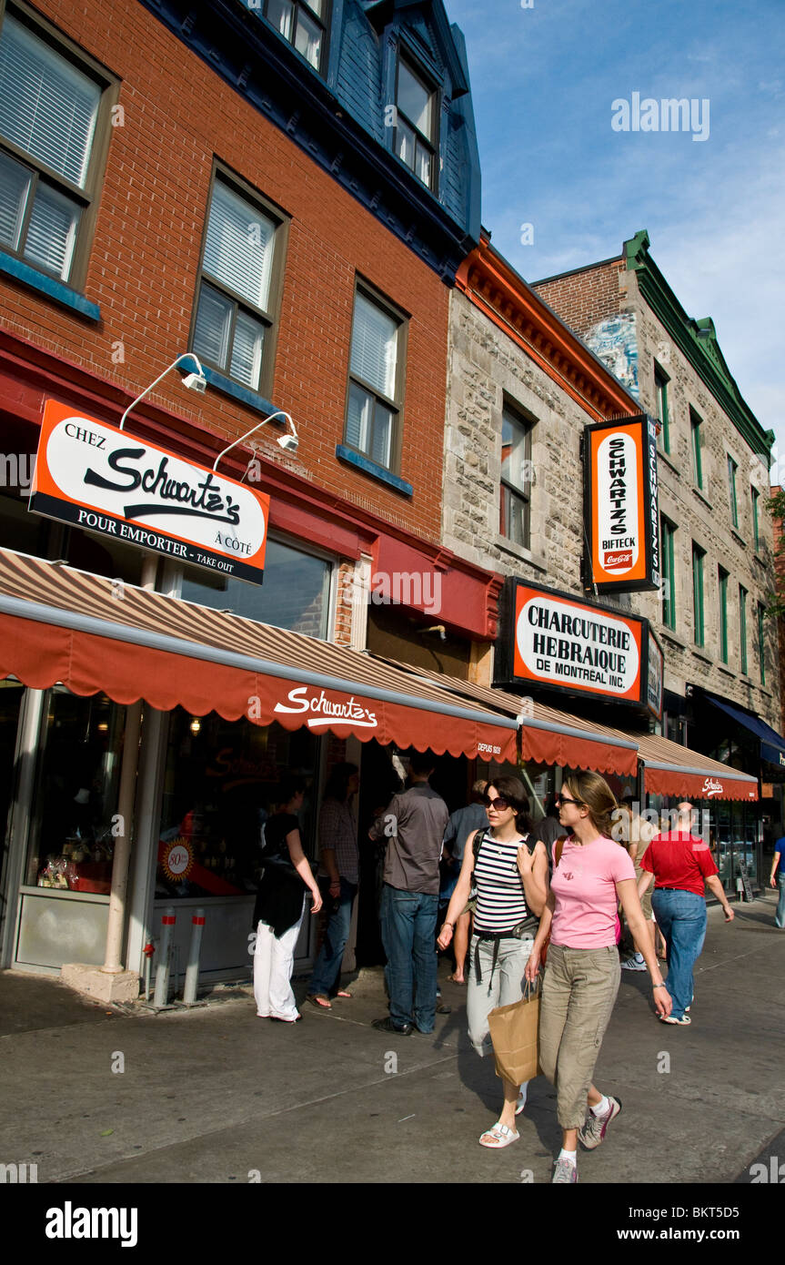 Schwartz Famous  deli on Boulevard saint Laurent Montreal - Stock Image