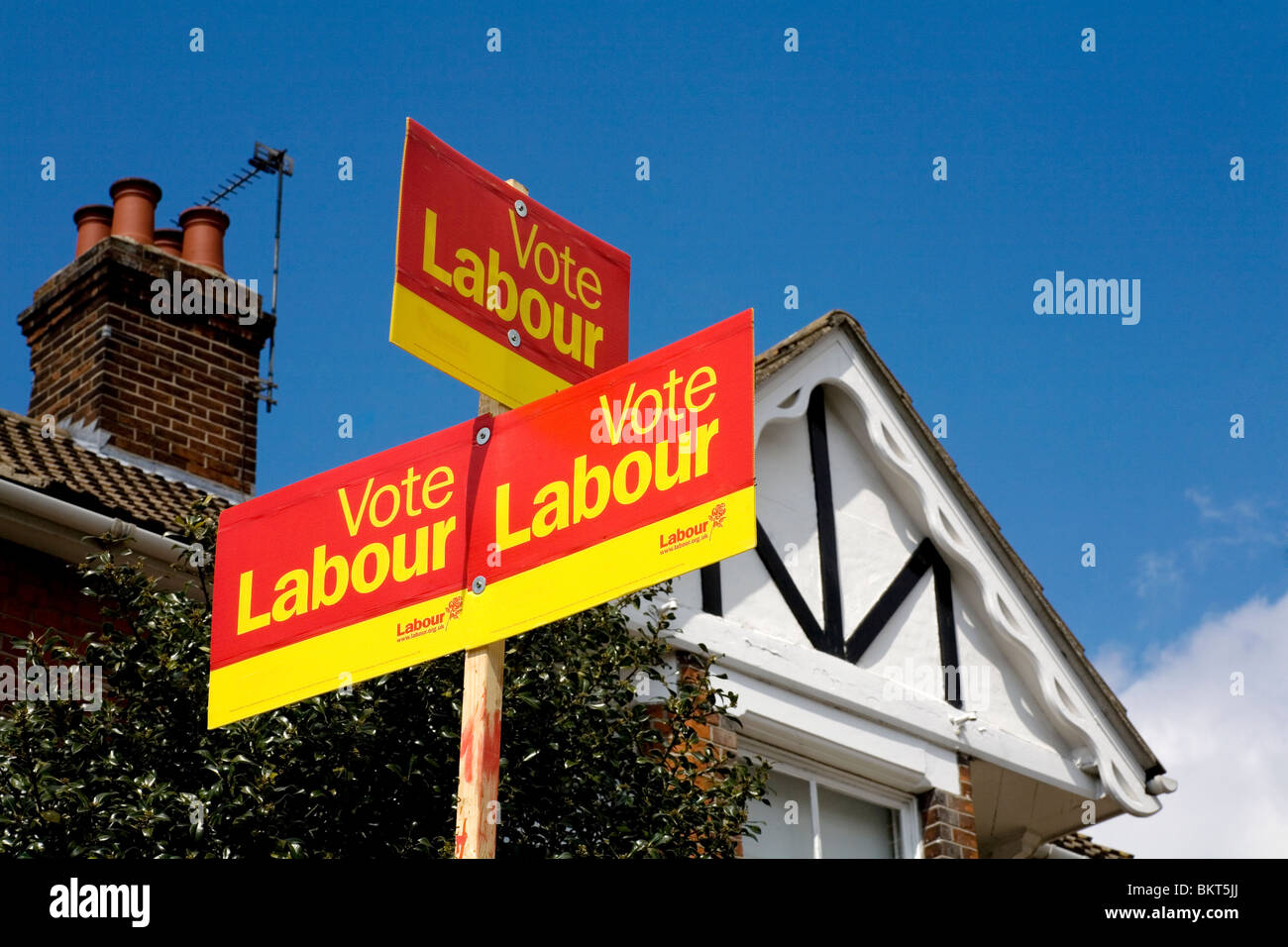 Labour Election Boards during the 2010 General Election, Colchester, Essex UK - Stock Image