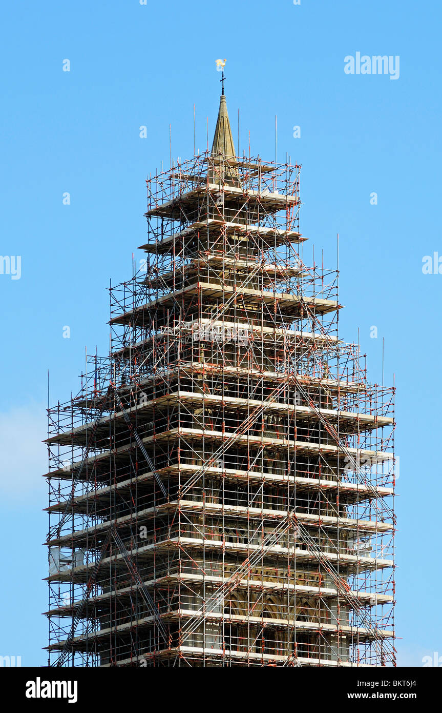 scaffolding for repairs surrounds one of the front spires on truro cathedral, cornwall, uk - Stock Image
