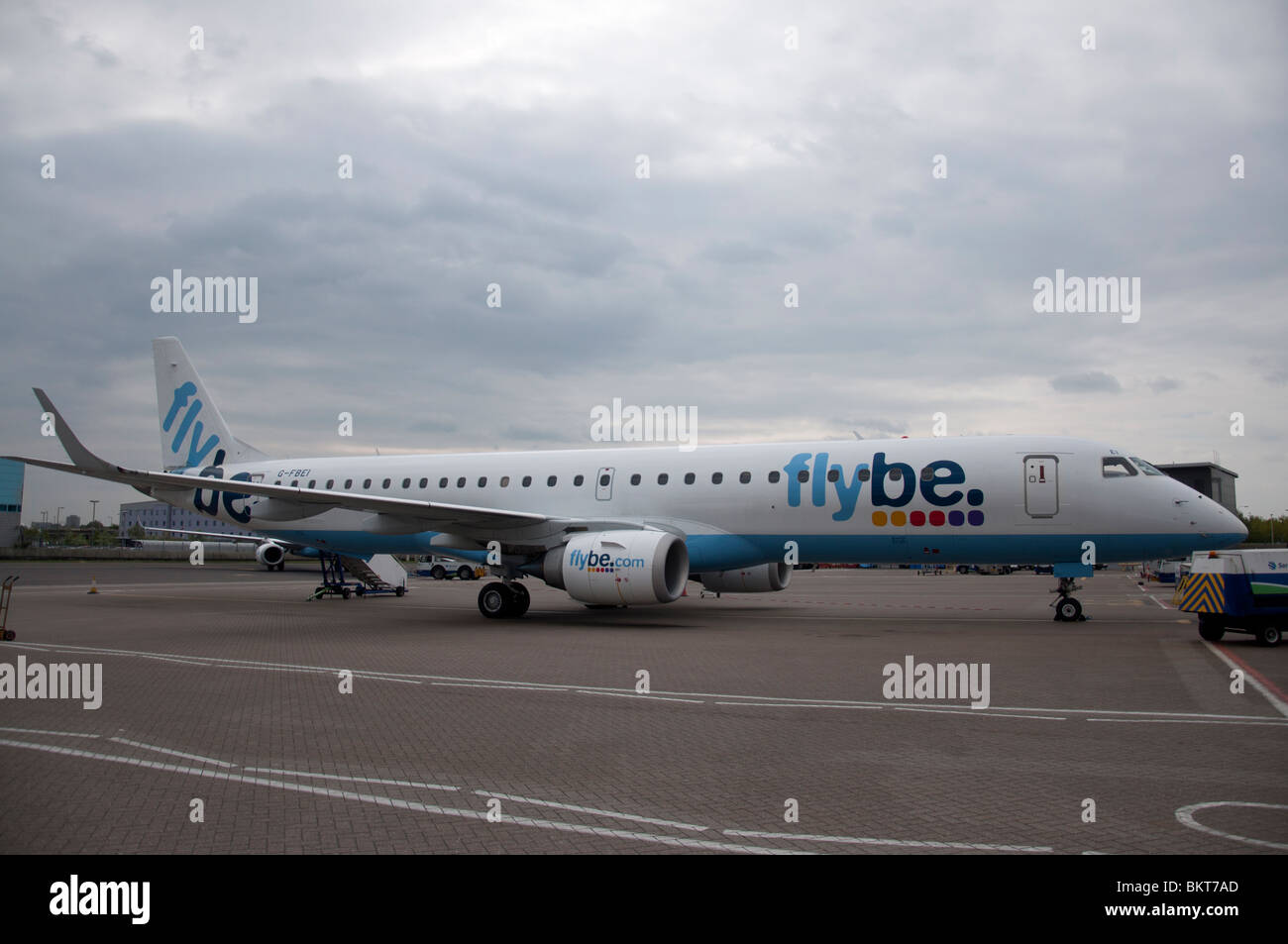 A flybe airplane parked at Southampton Airport. - Stock Image