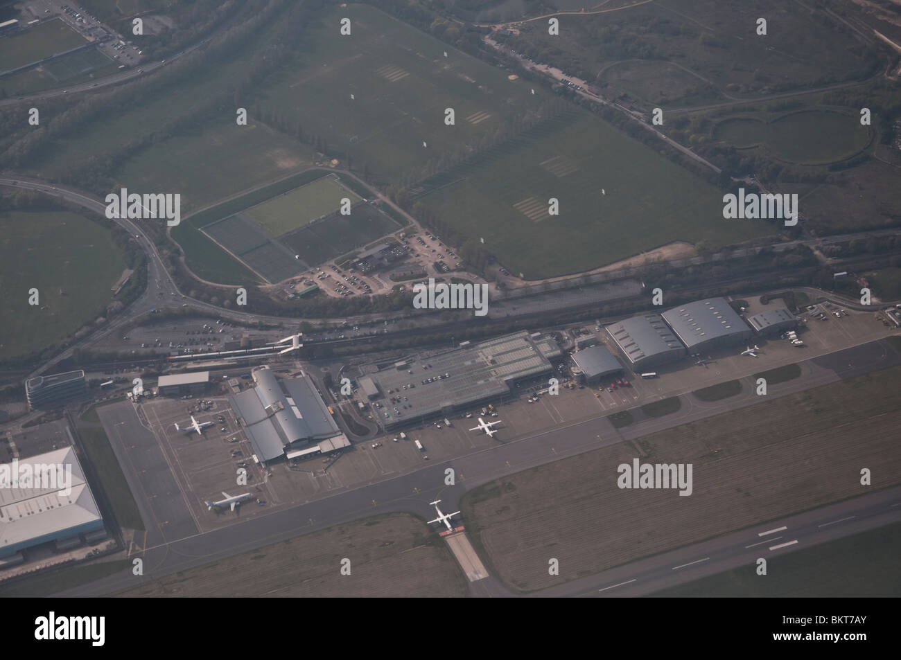 Southampton Airport seen from an airplane. - Stock Image