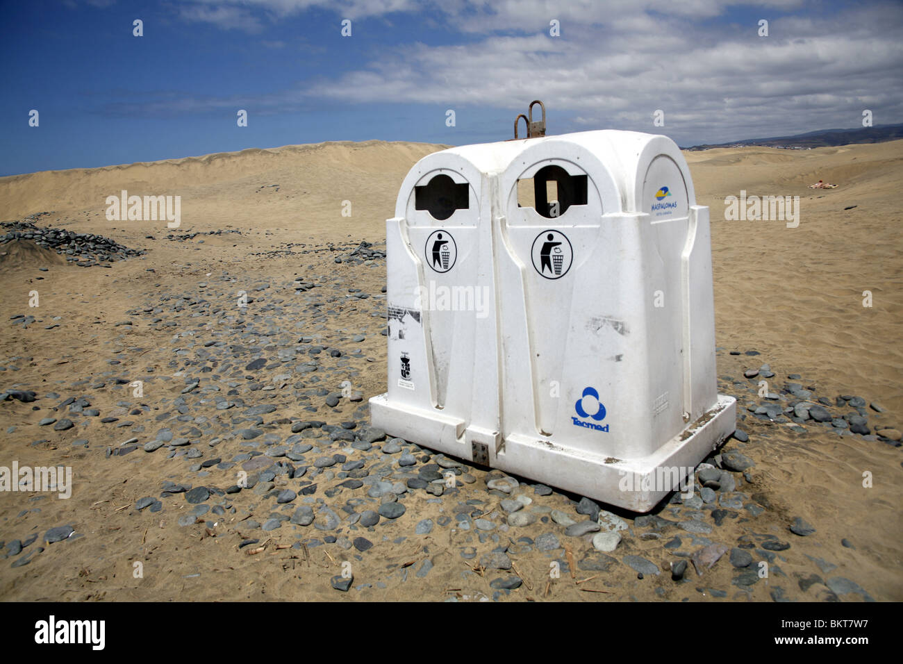 Rubbish bins in the wilderness - Stock Image