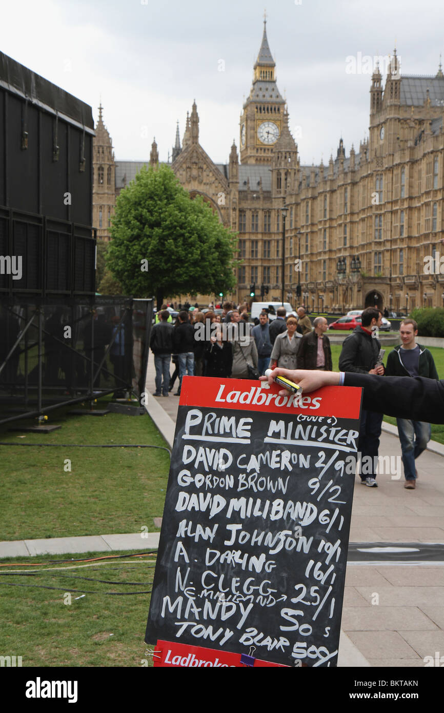 Betting odds for Prime Ministers during the UK General Election of May 6 2010 outside Parliament in Westminster. - Stock Image