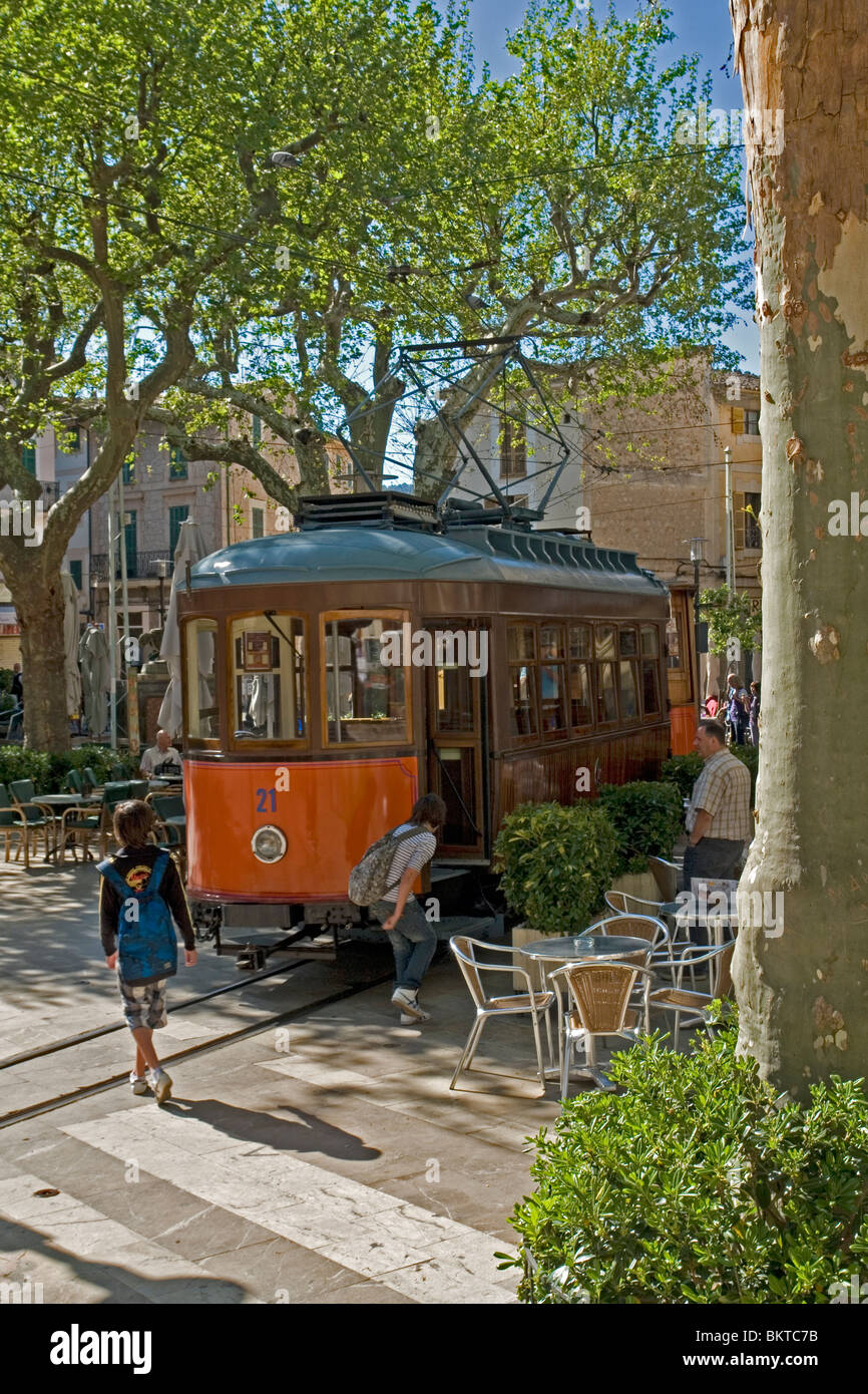 The old colourful tramway of Soller (Majorca - Spain). Le vieil et pittoresque tramway de Soller (Majorque - Espagne). Stock Photo