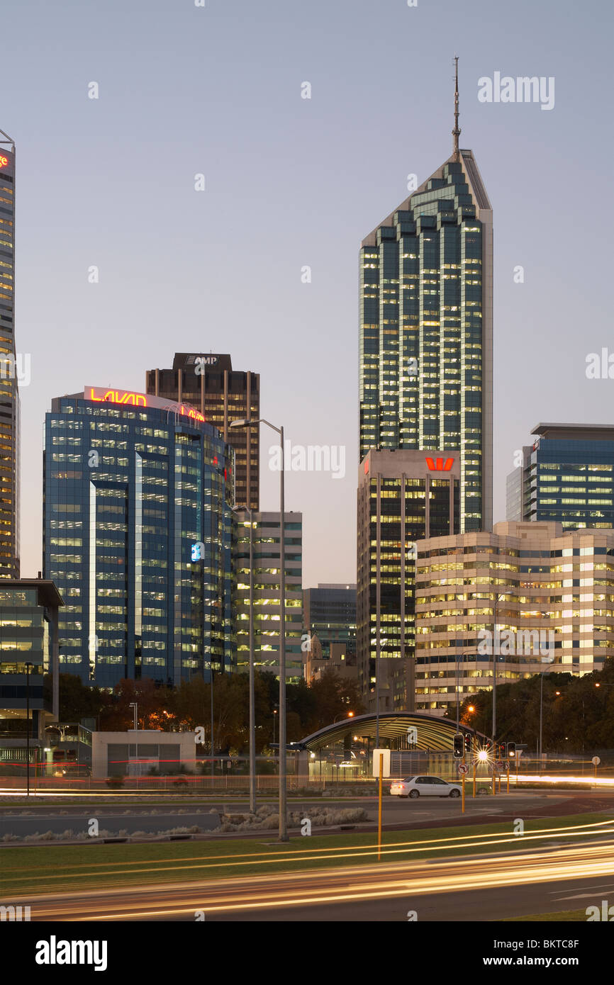 The R & I tower (right) on the city skyline of Perth, capital city of Western Australia - Stock Image