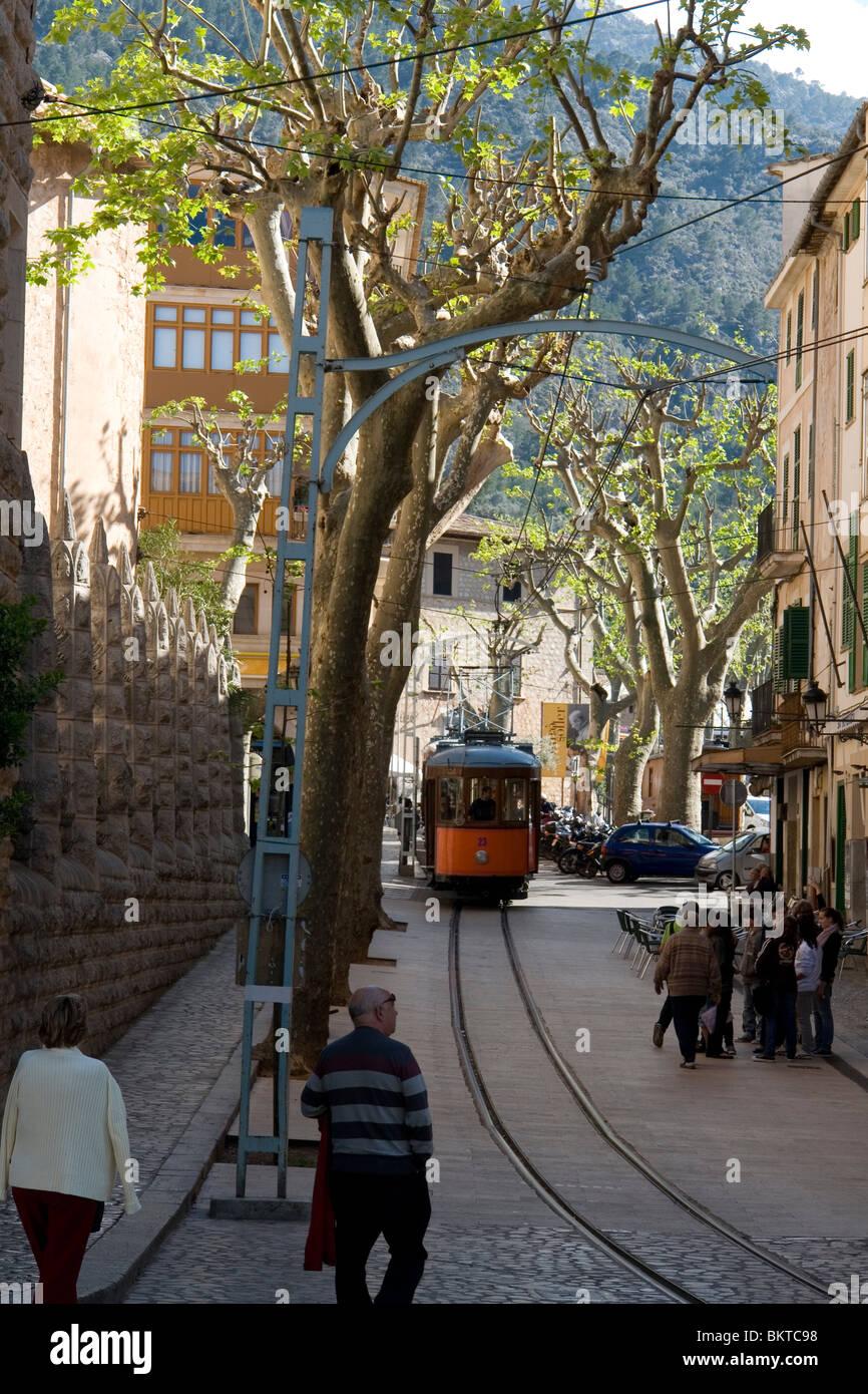 The old colourful tramway of Soller (Majorca - Spain). Le vieil et pittoresque tramway de Soller (Majorque - Espagne). Stock Photo