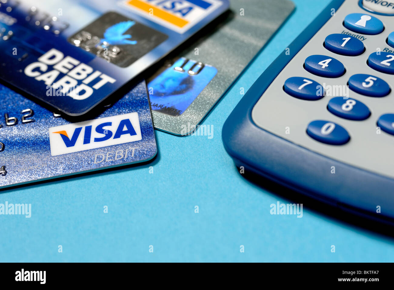 Credit cards and calculator - Stock Image