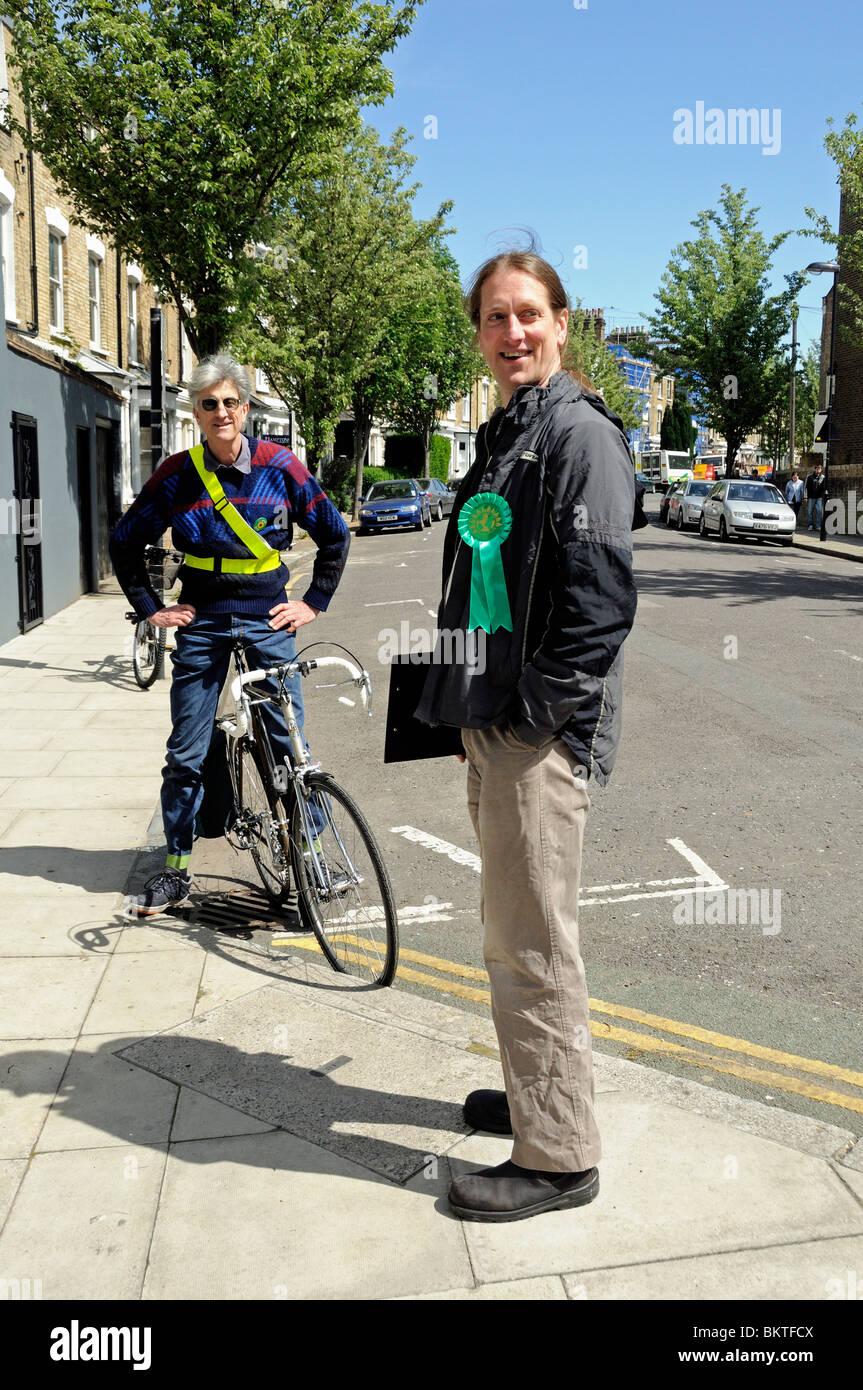 Green Party Activists, Highbury West Ward, Islington North, London England UK - Stock Image