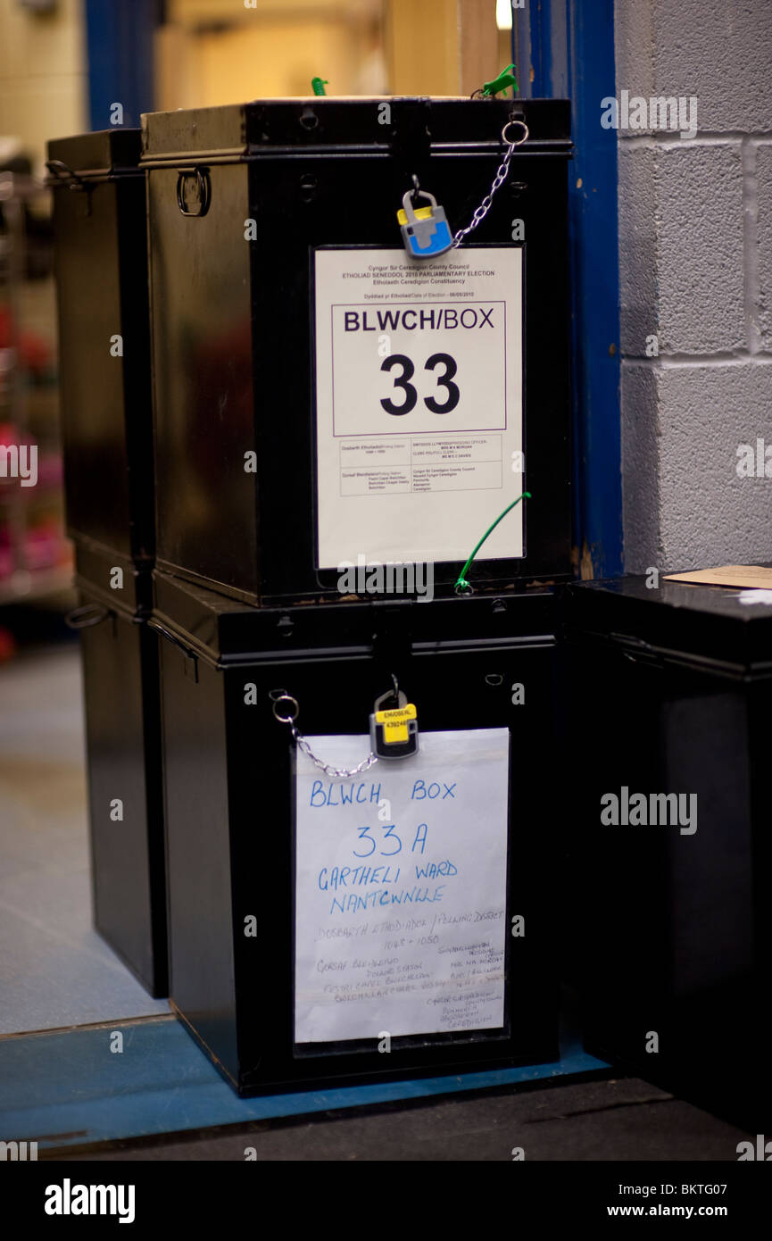 Ballot boxes awaiting opening at the count in the Ceredigion constituency at the UK General Election, May 6 2010 - Stock Image
