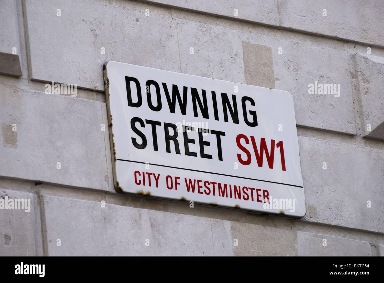 Downing Street Sign, Westminster, London, England, UK - Stock Image