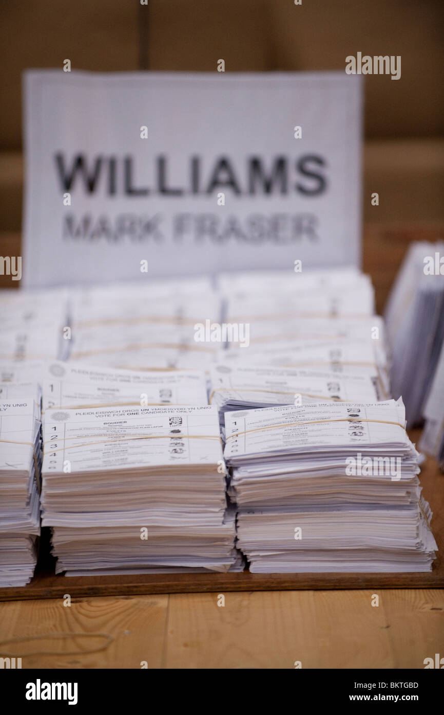 Piles of votes cast for Mark Williams, Lib Dem candidate in the Ceredigion constituency at the General Election, - Stock Image