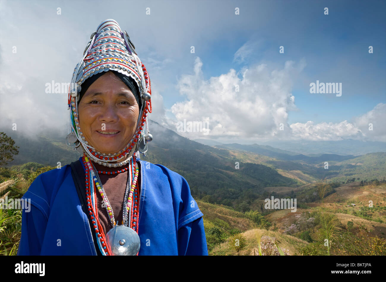 Akha hill tribe woman in Chiang Rai province, Thailand. - Stock Image