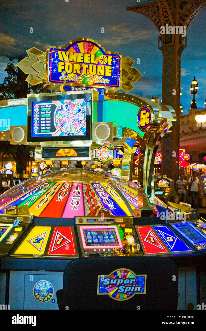 A WHEEL OF FORTUNE gambling ensemble inside the PARIS LAS VEGAS HOTEL - LAS VEGAS, NEVADA - Stock Image