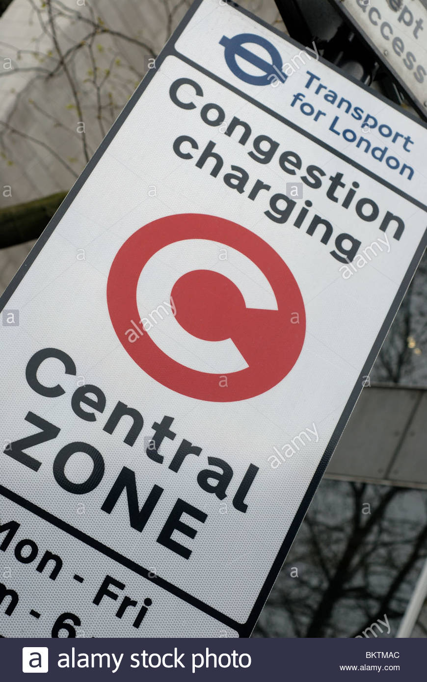 London UK Congestion charge sign, and area where congestion pricing is made during peak periods. - Stock Image
