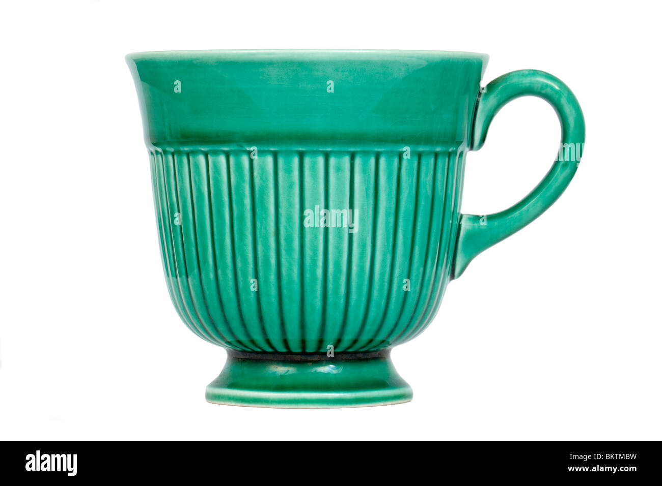 Vintage green Wedgwood of Etruria & Barlaston English pottery tea cup - Stock Image
