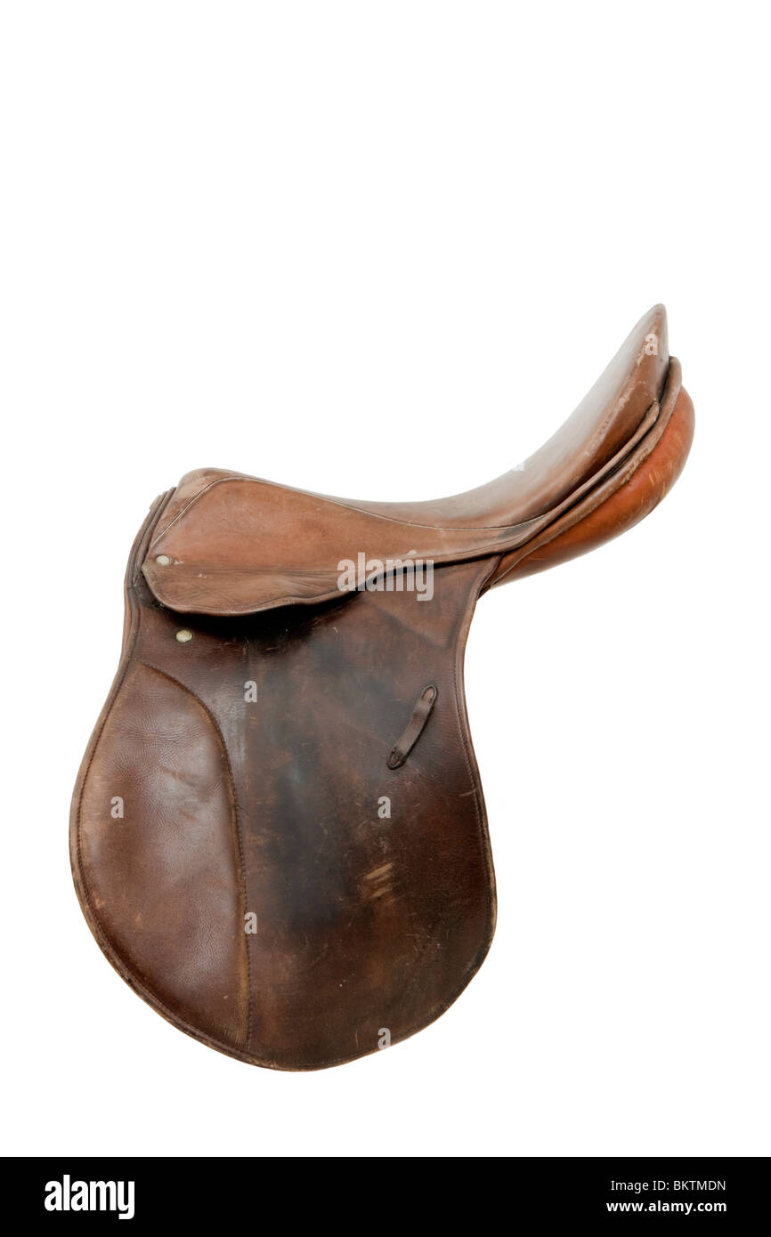 Side on view of vintage German Stubben Parzival leather horse riding saddle, isolated on white background - Stock Image