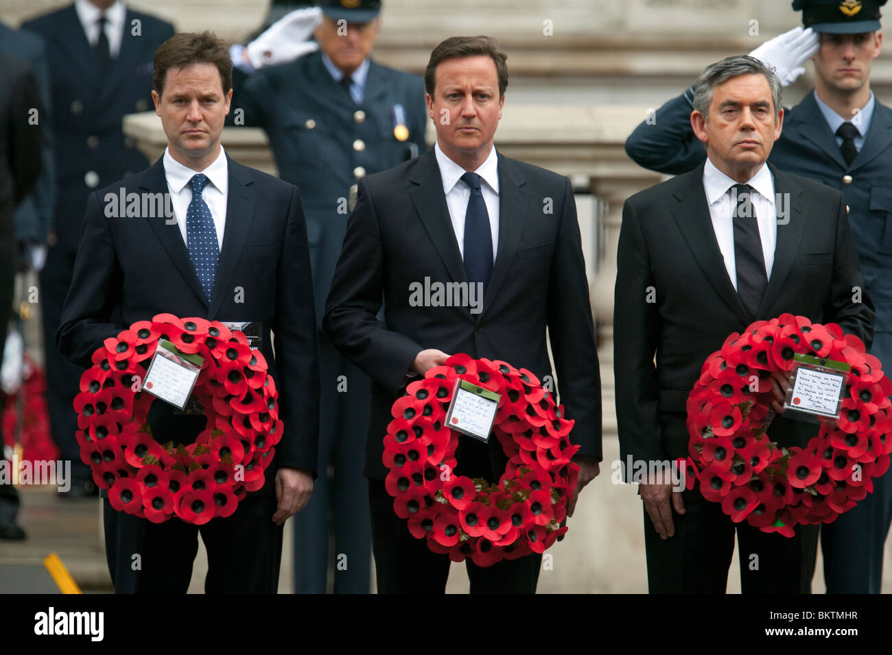 British political leaders with wreaths at the VE Day service in Whitehall, l/r Nick Clegg, David Cameron and Gordon - Stock Image