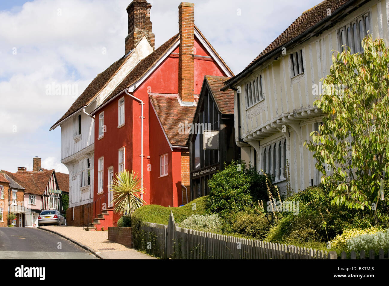 Houses at the top of Lady Street in Lavenham, Suffolk. - Stock Image