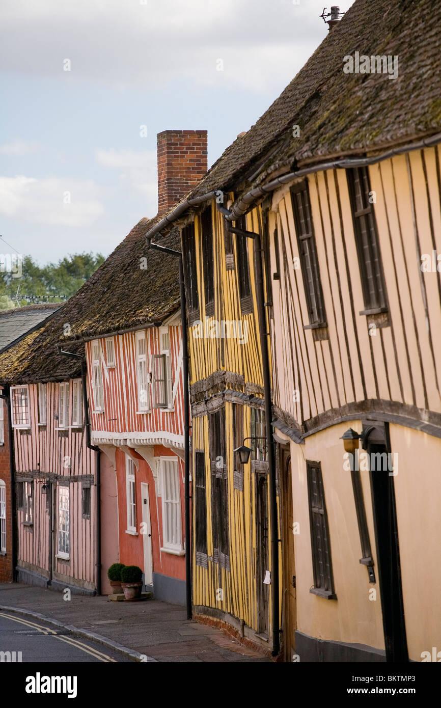 Timber frame buildings on Water Street Lavenham - Stock Image