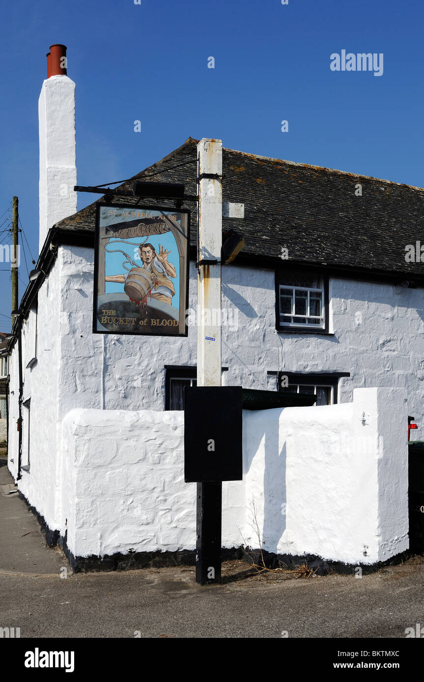 the 'bucket of blood ' pub at phillack near hayle in cornwall, uk - Stock Image