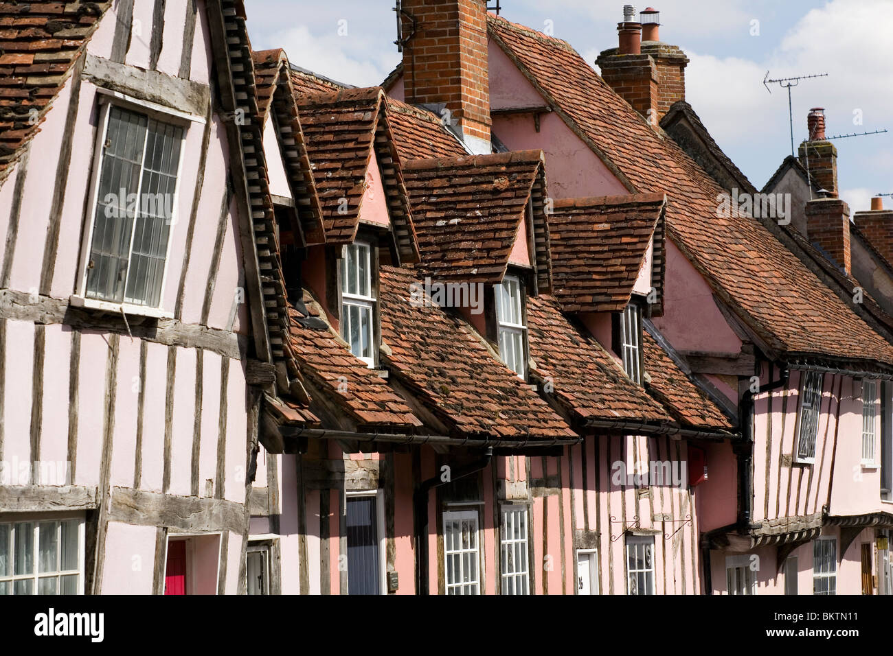 Roof details of a row of medieval houses in Lavenham, Suffolk. - Stock Image