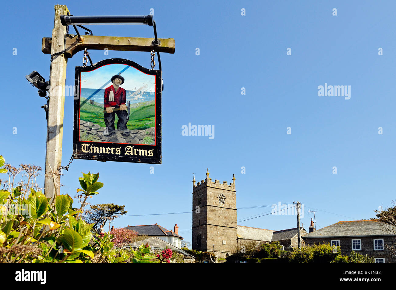 the ' tinners arms ' pub sign in the village of zennor, cornwall, uk - Stock Image