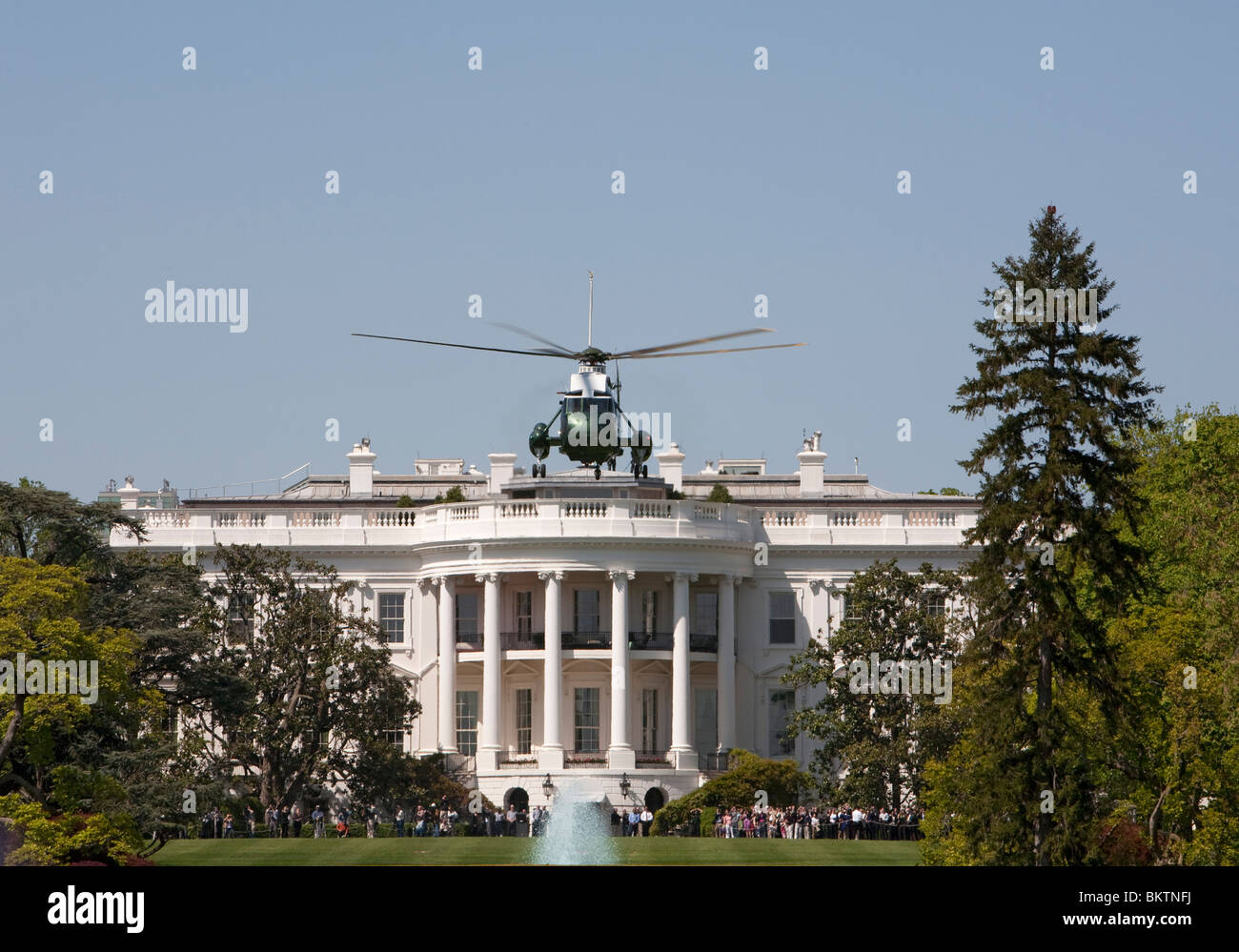 Washington, DC - Marine One helicopter lifts off from the White House south lawn. - Stock Image