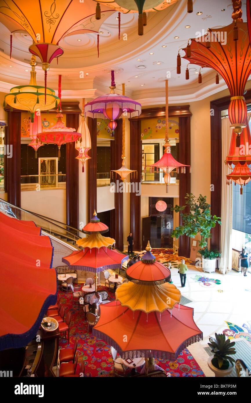 Fantasy type lighting fixtures and umbrellas inside the wynn hotel and casino las vegas nevada